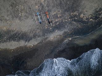 Indonesia, Bali, Aerial view of Yeh Gangga beach, banca boats - KNTF02110
