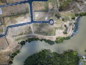 Indonesia, Bali, Aerial view of Yeh Gangga beach from above, park - KNTF02113