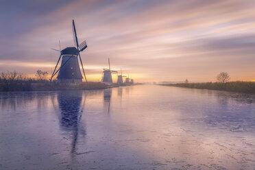 Netherlands, Holland, Rotterdam, Kinderdijk in the evening - RPSF00242