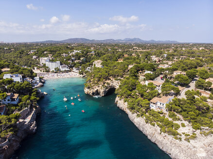 Spain, Balearic Islands, Mallorca, Aerial view of bay Cala Santanyi, beach - AMF06025