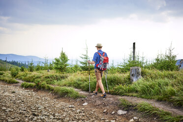 Rear view of man hiking in the mountains - BSZF00695