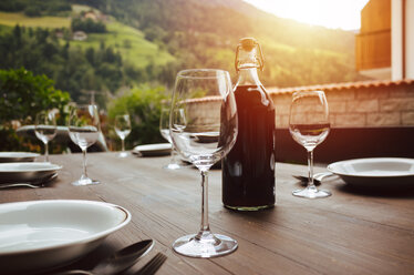 Wine glasses on a table in a restaurant - INGF00206