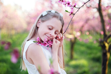 A young girl holding a pink flowering plant - INGF00248
