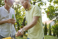 Senior father and adult son having a barbecue in garden - ZEDF01585