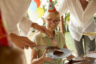 Serving cake on a birthday garden party - ZEDF01675