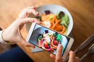Woman taking photo of vegan meal - CUF45864