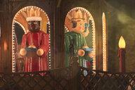 Germany, Christmas crib with The Three Magi at Christmas market - MMAF00621