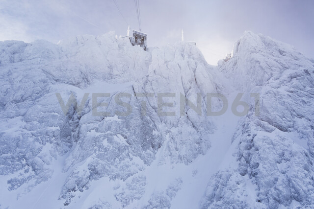 Germany, Bavaria, Grainau, Zugspitze, view to Zugspitzbahn cable car station in winter - MMAF00627