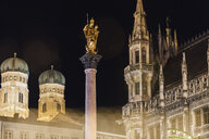 Germany, Munich, St Mary's Column with Cathedral of Our lady and old town hall in the background - MMAF00632