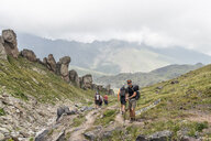 Russia, Caucasus, Mountaineers hiking in Upper Baksan Valley - ALRF01323
