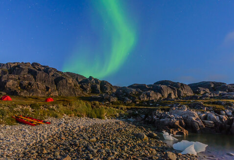 Landscape with tents by fjord and aurora borealis at night, Narsaq, Vestgronland, South Greenland - CUF46097