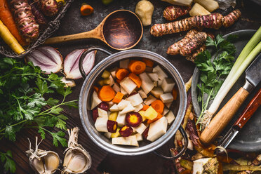 High angle view of fresh food in a cooking pot - INGF01078
