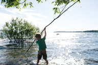 Boy exploring water with stick, Kingston, Canada - CUF46310