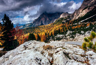 Clouds above the Dolomites mountain range in Italy - LUXF01156