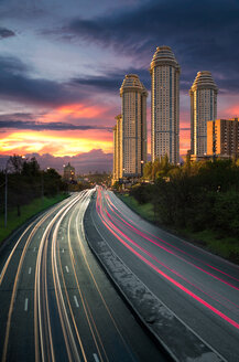 Skyscrapers and highway at sunset in Moscow - LUXF01165