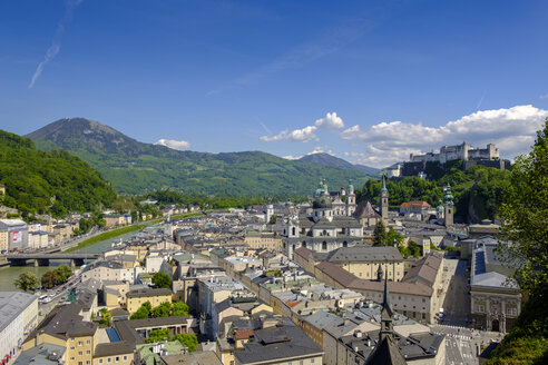 Austria, Salzburg State, Salzburg, View from Moenchsberg, Old town with College Church, Cathedral and Hohensalzburg Fortress - LBF02119
