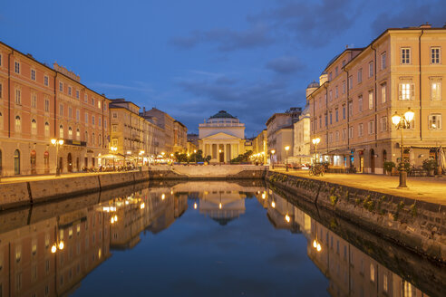Italy, Friuli-Venezia Giulia, Trieste, Old town, Canal Grande at blue hour - HAMF00478