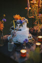 Wedding cake on table with candles outdoors - ALBF00704