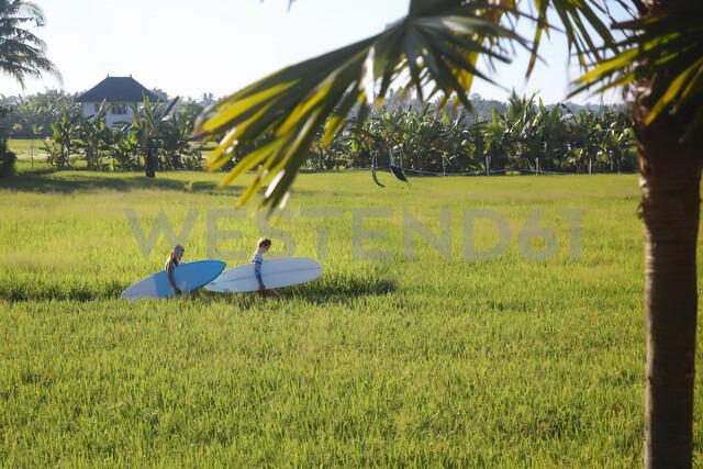 Friends with surfboards walking on grassy field against sky - CAVF49698