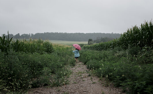 Rear view of girl carrying umbrella while walking on field against sky during rainy season - CAVF49812