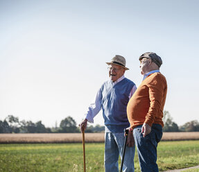 Two old friends standing in the fields, talking about old times - UUF15453