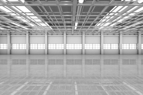 Architecture visualization of an empty warehouse, 3D Rendering - SPCF00285
