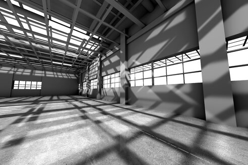Architecture visualization of an empty warehouse, 3D Rendering - SPCF00288