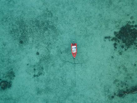 High angle view of boat on sea at Maldives - CAVF50169