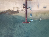 Indonesia, Lombok, Aerial view of seaweed on the pier - KNTF02153