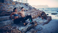Adult Couple doing fitness workout at the beach - INGF02987