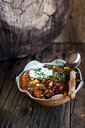 Chili con carne with kidney beans and corn, sour cream, parsley - SBDF03784