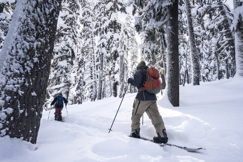 Male friends skiing on snowcapped mountain - CAVF51030