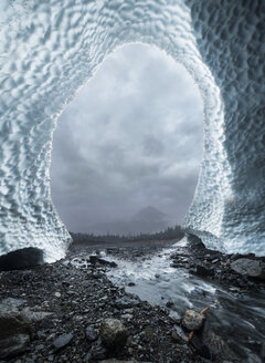 Cloudy sky seen through ice cave at North Cascades National Park - CAVF51069