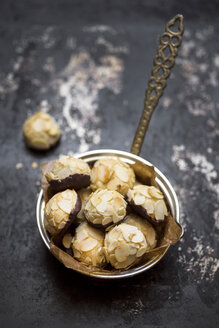 Vegan almond cookies in a  sauce pan - CZF00333