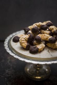 Vegan almond crescents on cake stand - CZF00336