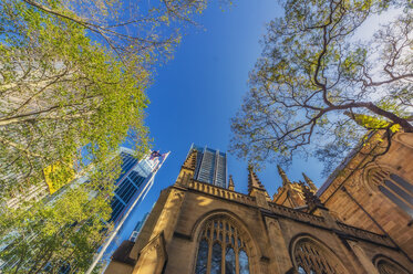 Australia, New South Wales, Sydney, church, worm's eye view - THAF02312