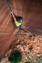 Man trad climbing, Indian Creek, Moab, Utah, USA - ISF20016