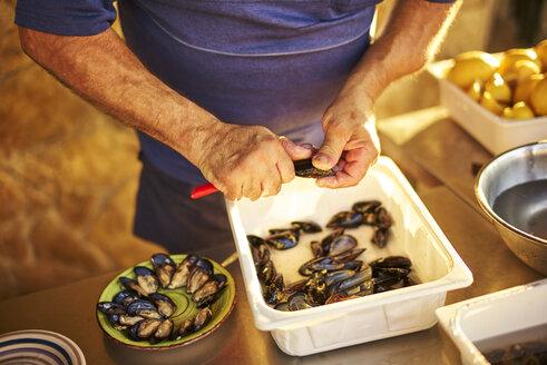 Man preparing and arranging fresh mussels - DIK00296
