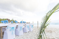 Seychelles, La Digue, Grand Anse, laid table for a wedding - MMAF00693