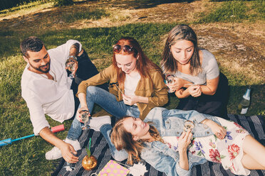 High angle view of happy young multi-ethnic friends enjoying picnic at back yard during summer - MASF09592