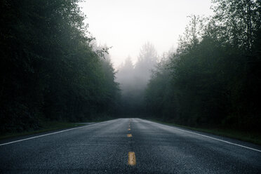 Vanishing empty road amidst trees in forest at Olympic National Park against sky during foggy weather - TGBF00441