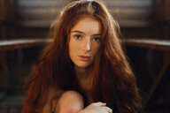 Close-up portrait of a beautiful redheaded young woman - INGF05368