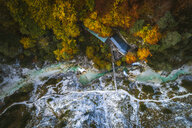 Austria, Lower Austria, Aerial view of a snack station in the Oetschergraeben in autumn - HMEF00046