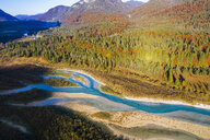 Germany, Lenggries, Isarwinkel, Aerial view of Isar river, at tributary into Sylvenstein Dam in autumn - SIEF08070