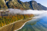 Germany, Bavaria, Upper Bavaria, Lenggries, Isarwinkel, Aerial view of Sylvenstein Dam in autumn - SIEF08076