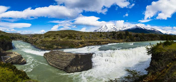Chile, Patagonia, Magallanes y la Antartica Chilena Region, Torres del Paine National Park, Cerro Paine Grande and Torres del Paine, Rio Paine, cataracts - AMF06137