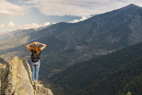 French Pyrenees, hiker on viewpoint - AFVF01909