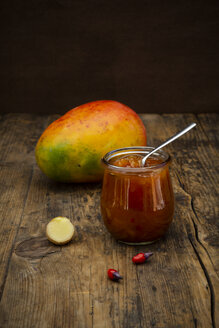 Glass of mango chutney with ginger and chili - LVF07520