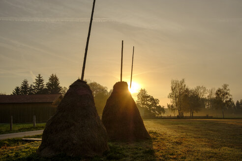 Germany, Sindelsdorf, two haystacks at sunrise - LBF02158