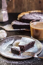 Swedish kladdkaka, dark chocolate cake, swedish brownie with coffee - SBDF03808